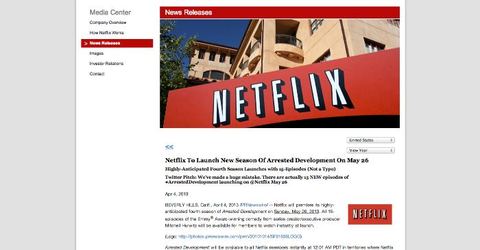 Netflix press release for Season Four