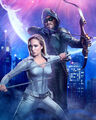 Poster crisis on infinite Earths white canary et Green Arrow