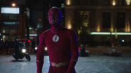 Oliver as The Flash after damaging A.M.A.ZO.