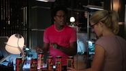 Curtis Holt and Felicity Smoak listen broken record Ray's (3)