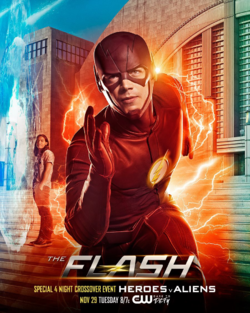 The Flash season 3 poster - Special 4 Night Crossover Event Heroes v Aliens.png