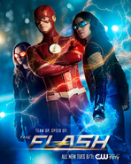 The Flash season 4 poster - Team Up. Speed Up.