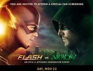 The Flash vs Arrow fan screening promo