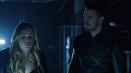 Sara Lance and Team Arrow in ArrowCave Darkness (1)