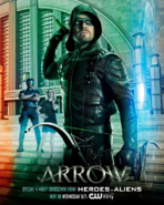 Arrow season 5 poster Heroes v Aliens