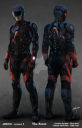 A.T.O.M. Exosuit concept art front and back