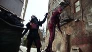 Samuroid catch Kid Flash in The Flash suit