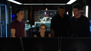 Roy, Felicity, Diggle and Oliver in the Arrowcave