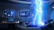 Alexa Rivera's body emitting blue lightning