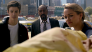 Patty Spivot, Barry Allen and Joe West in crime scene