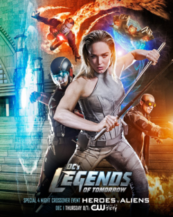 DC's Legends of Tomorrow season 2 poster - Special 4 Night Crossover Event Heroes v Aliens.png