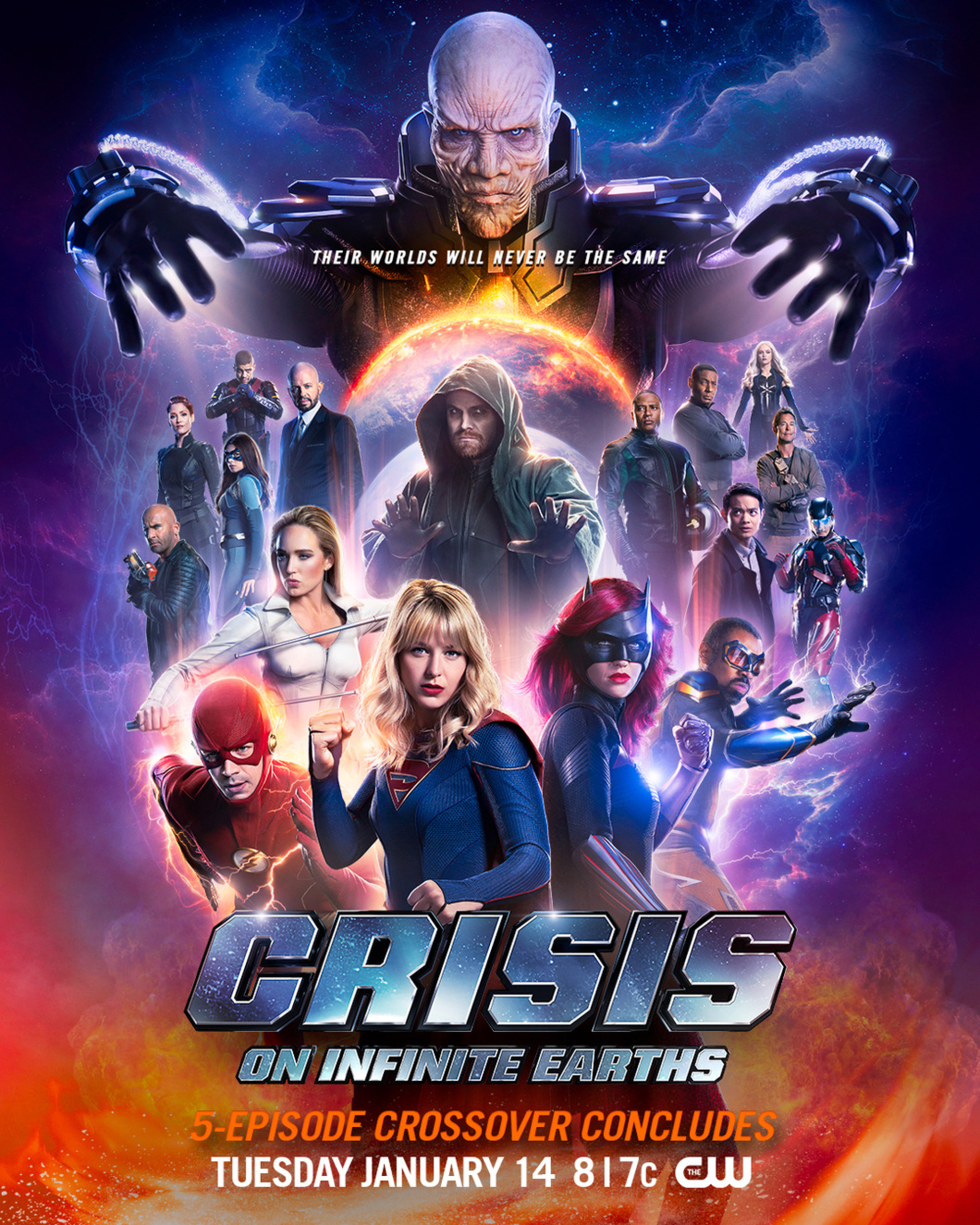 Crisis on Infinite Earths poster - Their worlds will never be the same.png