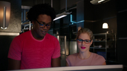 Curtis Holt and Felicity Smoak listen broken record Ray's (5)