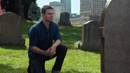 Oliver vows on Tommy's grave never to kill again