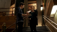 Patty Spivot and Barry Allen talk on teath Man-Shark (2)
