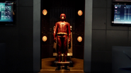 The fourth Flash suit on display at S.T.A.R. Labs