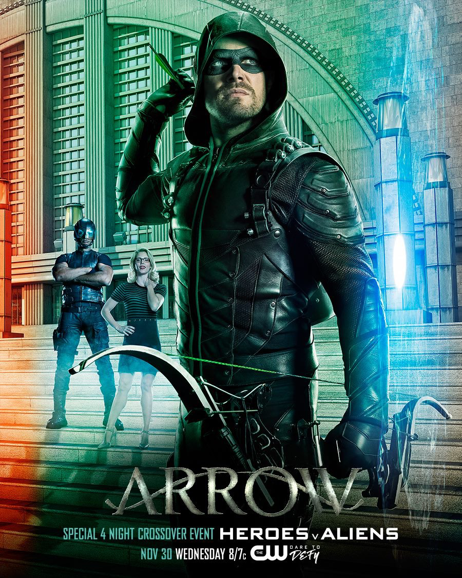 Arrow season 5 poster - Special 4 Night Crossover Event Heroes v Aliens.png