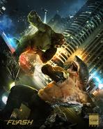 The Flash season 5 poster - King Shark vs. Gorilla Grodd