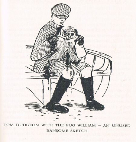An unused sketch by Arthur Ransome of Tom, published in CFT