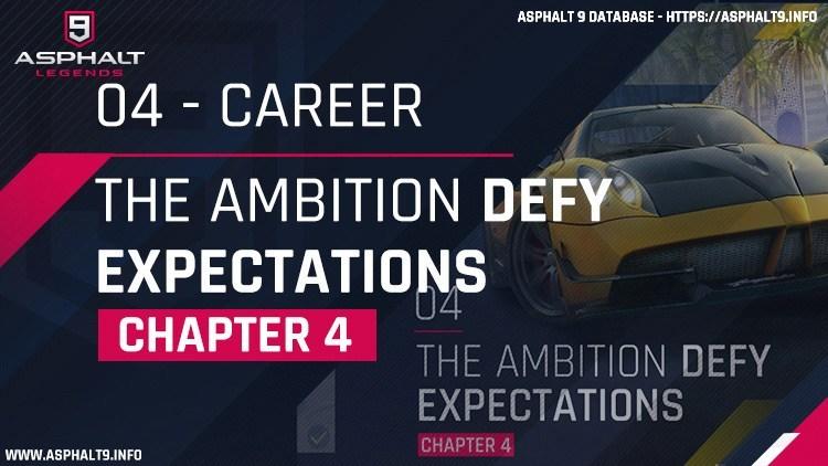 Asphalt 9: Legends/Career Mode/Chapter 4: The Ambition (Defy Expectations)