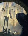 ACUnity finestra su Notre Dame concept art