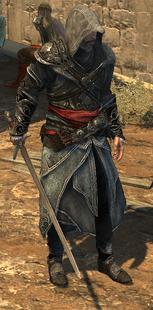 Ezio trzymający francuski bastard (ACR) (by Kubar906)