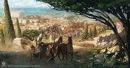 ACO Qara road view of Cyrene Concept Art