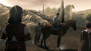 Ezio leaves the ruins of Monteriggioni for Rome