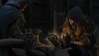 Ezio trzymający ostatni klucz do Masjafu (by Kubar906)