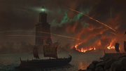 DTAE Alexandria Ship Attack - Concept Art by Martin Deschambault