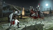 Ezio chutant le cavalier