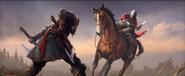 Oblężenie Paryża (ACV) - Eivor walcząca z rycerzem Karola Otyłego