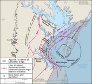 Chesapeake Crater boundaries map