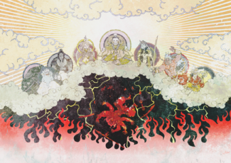 A depiction of the Seven Deities banishing Asura.png
