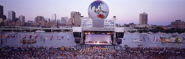 Panorama view of the stage and Brisbane River during World Expo 88