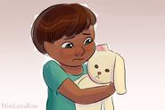 Boy Hugs Bunny