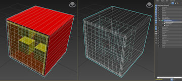 Left: Face View of the Conforming Mesh . Right: Wireframe View