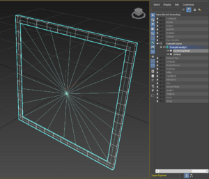 A Conforming Mesh, covering over the outside edges of an UV Mesh, extruded out in to the -Y axis slightly to avoid z-fighting with the car body, and with a ring of edges around the outside to connect the faces to the car body to avoid gaps in the mesh structure.