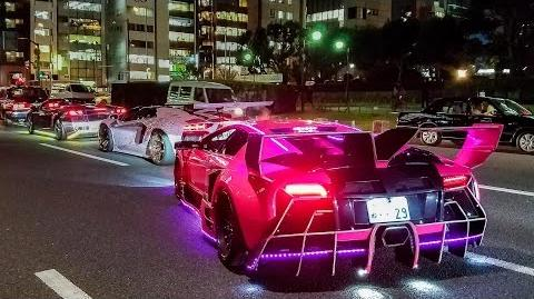 Crazy & Colorful Lamborghini Halloween Run in Tokyo