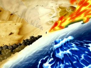 Avatar Roku die al de vier de elementen beheerst