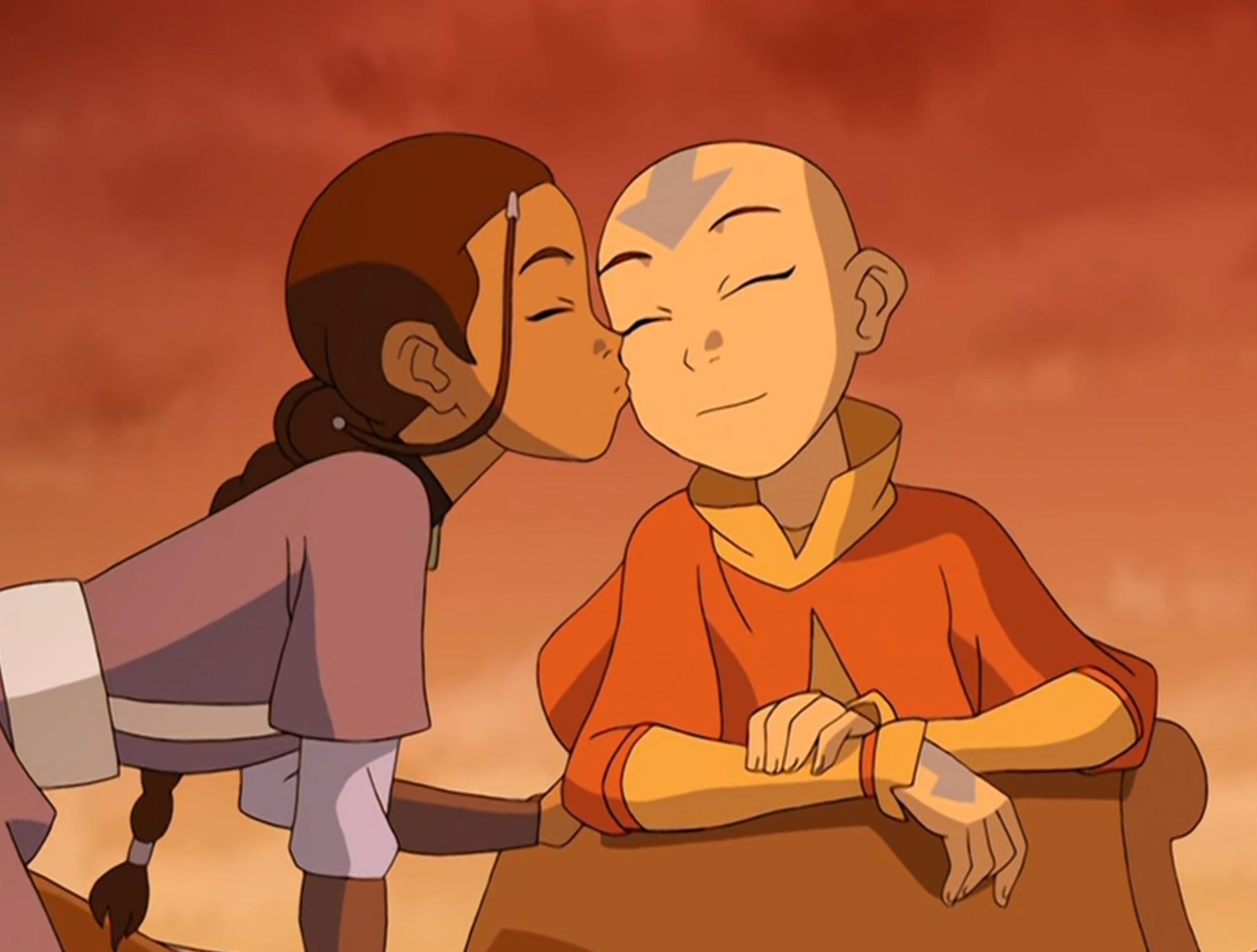 Katara kisses Aang.png