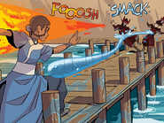 Katara fighting off firebenders