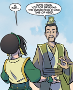 Lao thanks Toph for bringing Aang to Cranefish Town