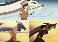 Wan, Aang und Zuko beim Tanz der Drachen