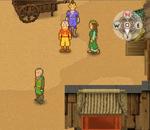 Sokka und Aang hören sich im Dorf um