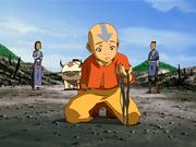 Aang traurig über verbrannten Wald.png