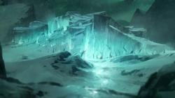 El bosque espiritual congelado del Polo Sur, lugar donde ocurren los acontecimientos finales de este libro.