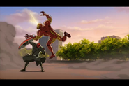 Iron Man pushed by Red Skull