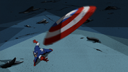 Captain America using his shield