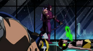 Hawkeye fights while Wasp and Captain America lay unconcious
